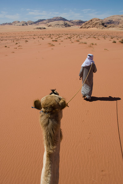 Riding the camel in Wadi Rum, Jordan