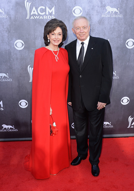 . Dallas Cowboys Owner/President/General Manager Jerry Jones (R) and wife Gene Jones attend the 49th Annual Academy Of Country Music Awards at the MGM Grand Garden Arena on April 6, 2014 in Las Vegas, Nevada.  (Photo by Jason Merritt/Getty Images)