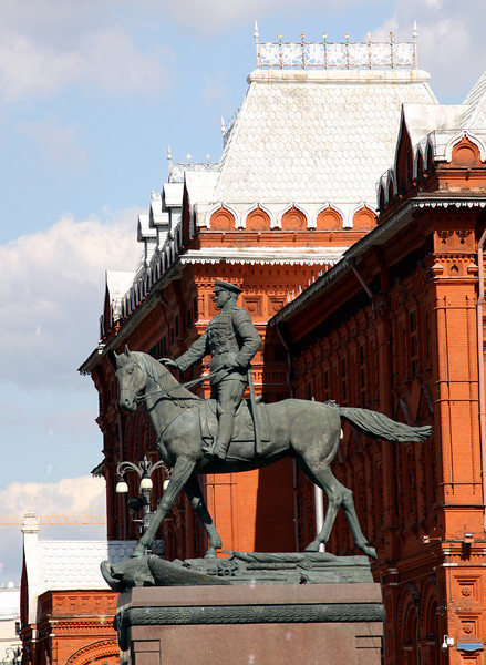 Equestrian Statue of Marshall Zhukov (World War II) outside the State History Museum.