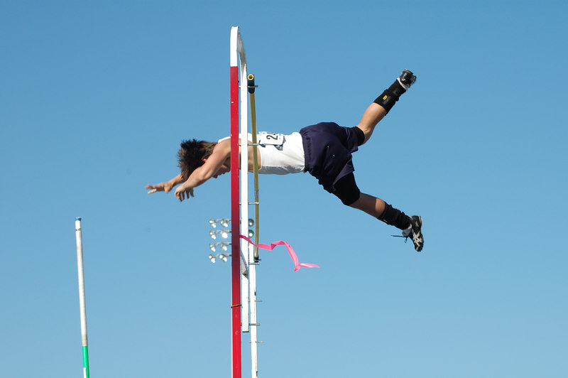 """This 13'6"""" clearance by Max Lang ended up being the winning vault on fewer misses."""