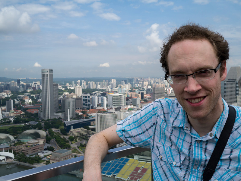 Dan with Singapore in the background