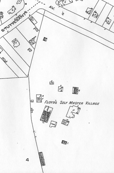 Sanborn map showing the building layout of the Self Master Colony. The road across the top of the map is Morris Ave.