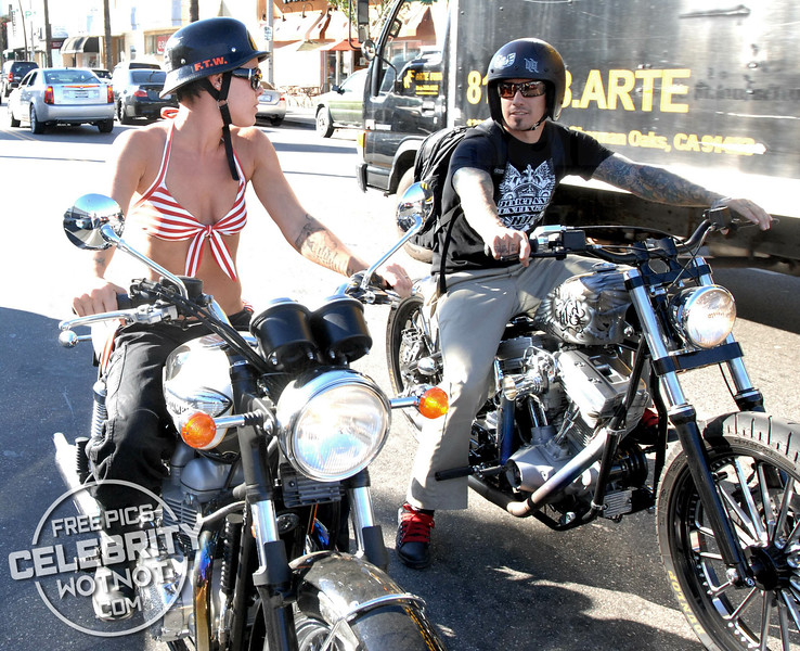 EXCLUSIVE: Pink Rides Her Motorbike Through Los Angeles Wearing a Bikini!