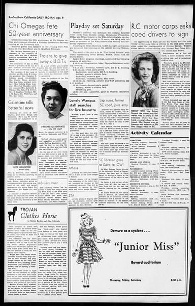 Daily Trojan, Vol. 36, No. 96, April 09, 1945