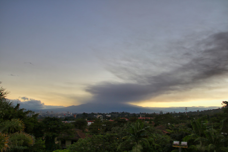 Turrialba Volcano eruption in a San Jose, Costa Rica Sunrise