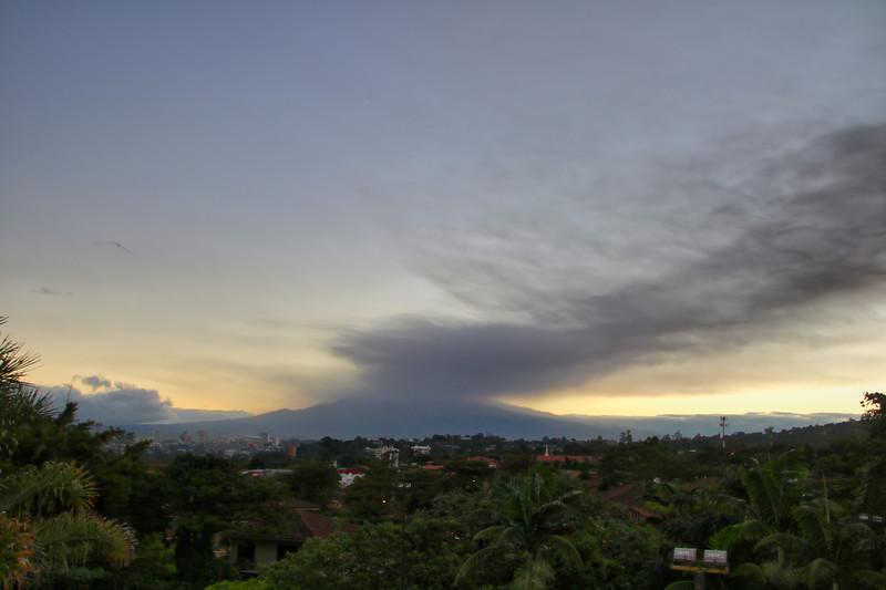 Turrialba Volcano eruption in a San Jose, Costa Rica Sunrise