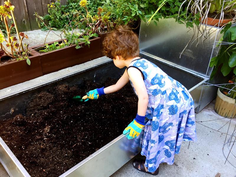 Gates prepares her vegetable garden