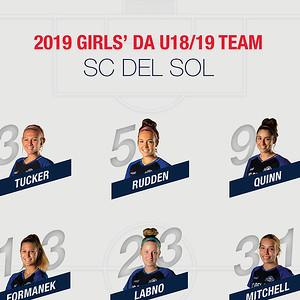 SC Del Sol Girls' DA 2019 U18-19 Team