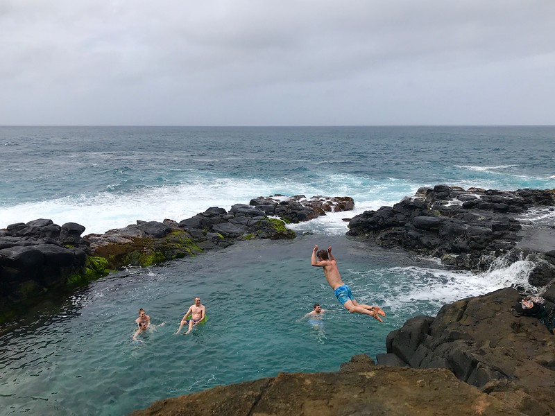 Tyler jumping into the Queen's bath