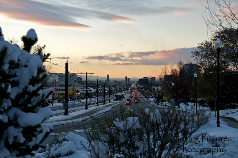 Sunset looking down 400 South, toward the heart of Salt Lake