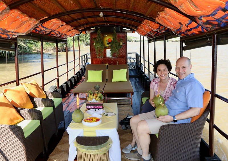 Aboard the cruise boat down the Mekong
