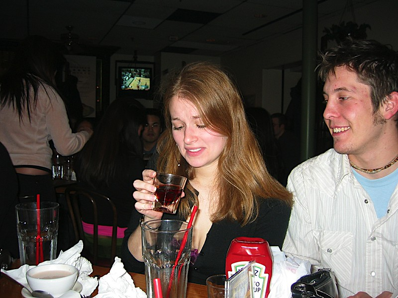 12 - Heather pondering the goodness of a drink.JPG