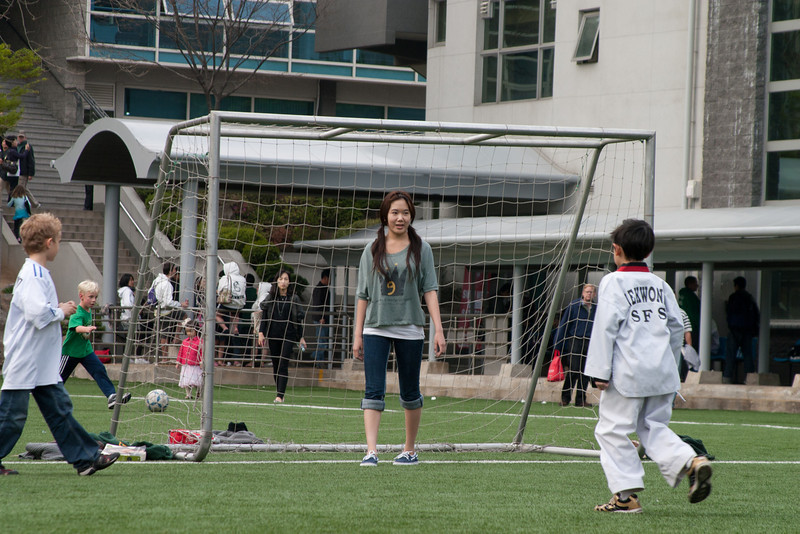 Playing soccer in the field of SFS