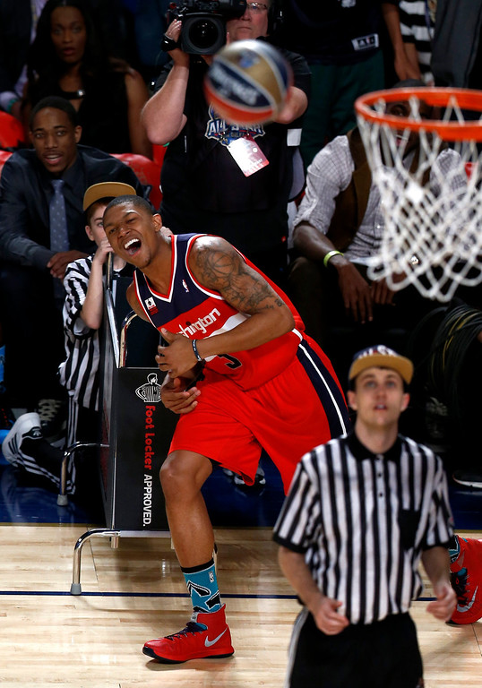 . Bradley Beal of the Washington Wizards reacts after missing a shot in the Three-Point Contest during the NBA All-Star Saturday Night festivities in New Orleans, Louisiana, USA, 15 February 2014.  EPA/DAN ANDERSON