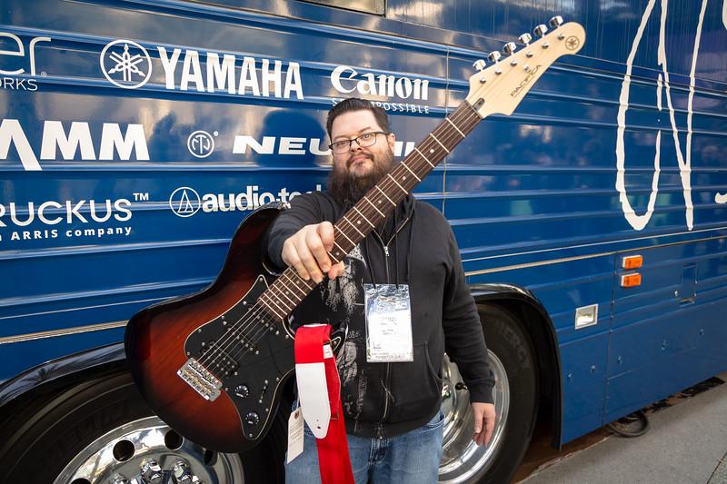 2019_01_24, Anaheim, Bus, CA, Exterior, Giveaway, Giveaways, NAMM, Yamaha