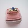 1.75ctw Cab Sapphire and Old European Cut Diamond 3-stone Ring 34