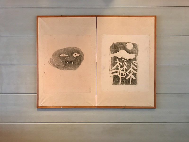 Two charming lino prints in the restaurant.