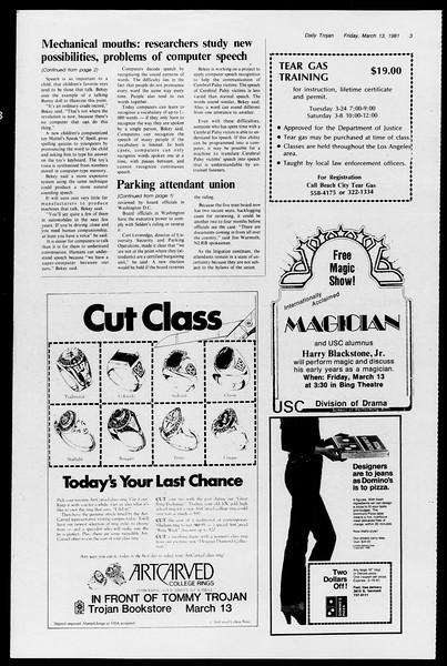 Daily Trojan, Vol. 90, No. 26, March 13, 1981