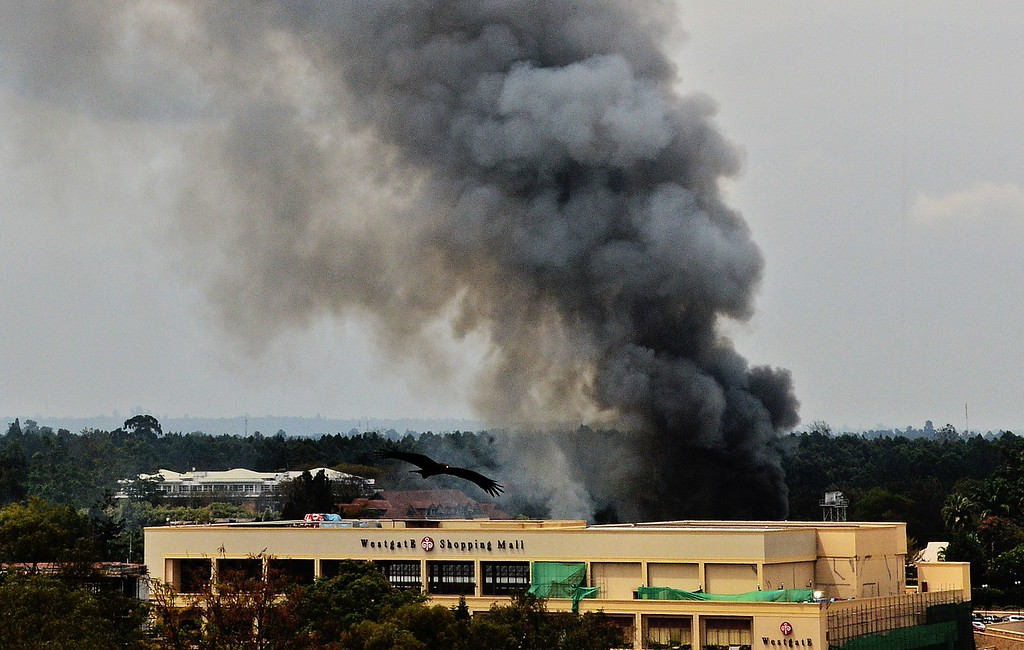 . Smoke rises from the Westgate mall in Nairobi on September 23, 2013.  AFP PHOTO / CARL DE  SOUZA/AFP/Getty Images