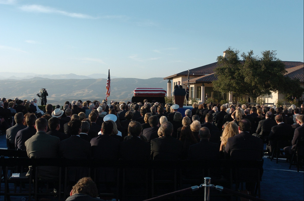 . 6/11/04--Simi Valley--  Michael Reagan, son of President Ronald Reagan delivers his eulogy during funeral services for the 40th President at the Ronald Reagan Library in Simi Valley, Ca, Friday, June 11th, 2004.   (Los Angeles Daily News file photo)