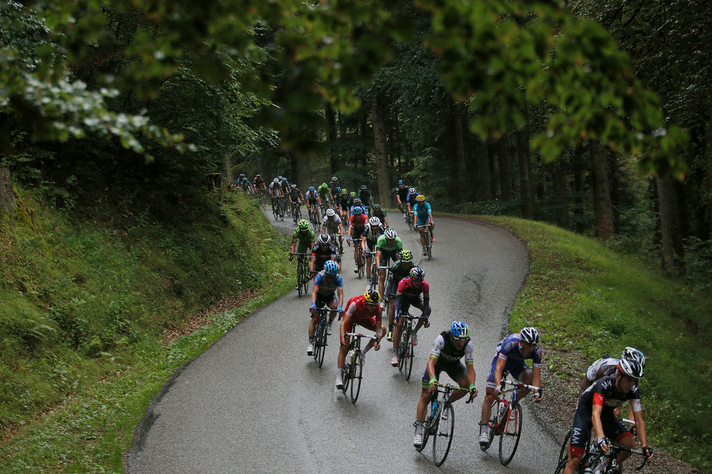 . The pack speeds downhilll during the tenth stage of the Tour de France cycling race over 161.5 kilometers (100.4 miles) with start in Mulhouse and finish in La Planche des Belles Filles, France, Monday, July 14, 2014. (AP Photo/Christophe Ena)