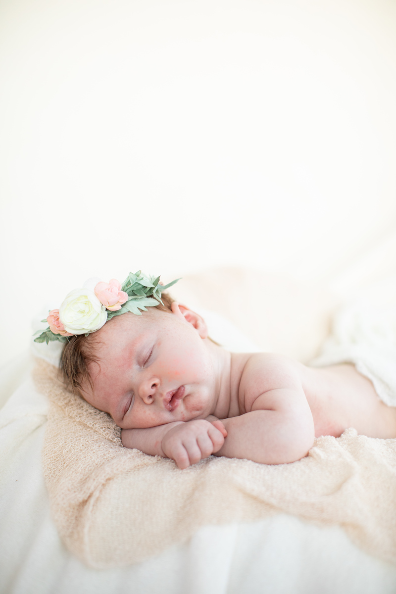 Washington DC newborn photographer Jalapeno Photography features baby Amelia's photos. This photo is of the beautiful baby surrounded by flowers in pinks and greens.