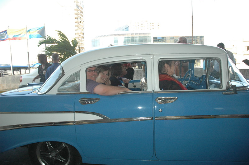 Group taking vintage taxis - Leslie Rowley