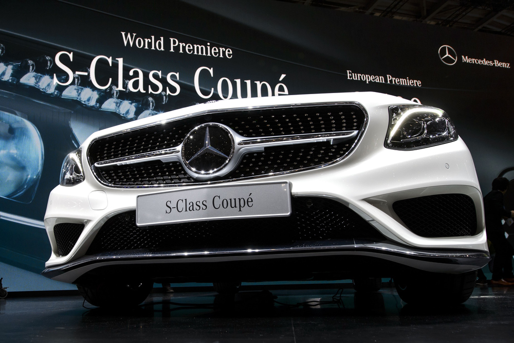 . The new Mercedes S-Class Coupe is displayed at the German carmaker\'s booth during the press day of the Geneva Motor Show in Geneva, on March 4, 2014.  FABRICE COFFRINI/AFP/Getty Images