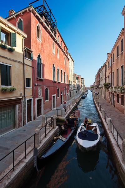 Gondola and motorboat, Dorsoduro, Venice, Italy