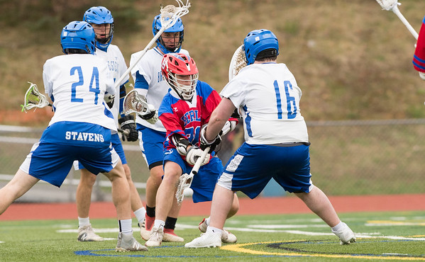 04/18/19 Wesley Bunnell | Staff Berlin boys lacrosse defeated Bristol Eastern at on Thursday afternoon at Bristol Eastern High School. Berlin's Brian Formica (26) with a goal against keeper Devin Levesque (16).