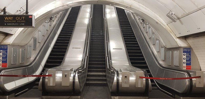 And now at the other escalators.These were modified for the Bond film Skyfall..the metal stops were removed so that James Bond could slide down the shiny surface after his adversary!!
