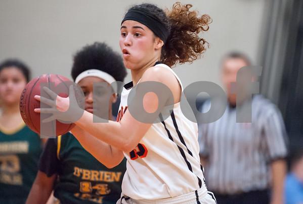 12/12/17 Wesley Bunnell | Staff E.C. Goodwin girls basketball defeated O'Brien Tech 43-27 on Tuesday evening at E.C. Goodwin High School. Paola Barbosa (13).