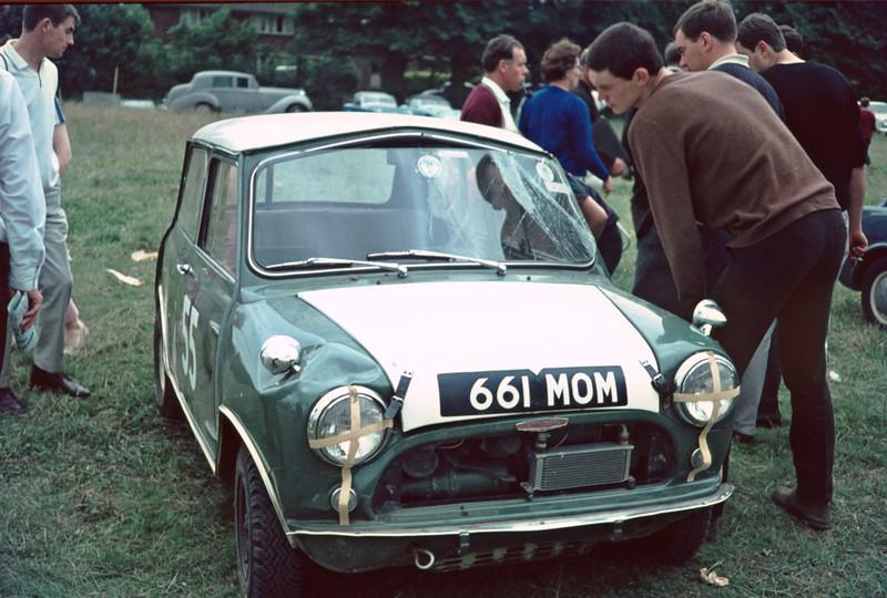 Peters Autocross mini after roll Uxbridge show early 1960s copy.jpg