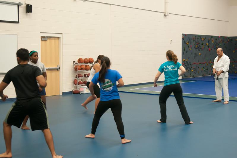 Karate class in Dugan Wellness Center taught by instructor Micheal Mautz