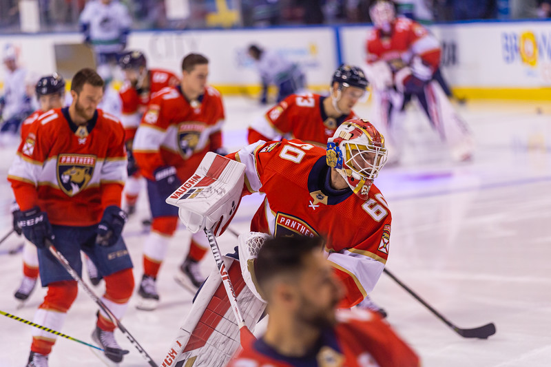 Panthers backup goalie Chris Driedger (#60) takes a shot at the goal during the pregame warmup skate at the BB&T Center on Thursday, January 9, 2020, where the Panthers hosted the Vancouver Canucks. The Panthers would go on to beat the Canucks 5-2. [JOSEPH FORZANO/palmbeachpost.com]