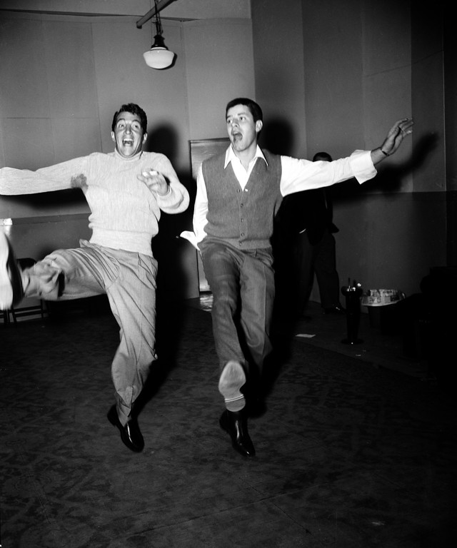 . Comedy duo Dean Martin, left, and Jerry Lewis rehearse at the Nola Studios in New York City for their opening at the Copacabana, Jan. 20, 1954.  (AP Photo/Dan Grossi)