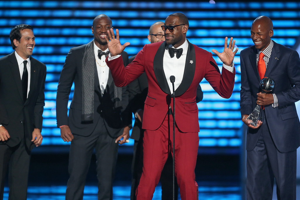 . From left, NBA coach Erik Spoelstra, Dwyane Wade, LeBron James and Ray Allen accept the award for Best Game onstage at The 2013 ESPY Awards at Nokia Theatre L.A. Live on July 17, 2013 in Los Angeles, California.  (Photo by Frederick M. Brown/Getty Images for ESPY)