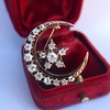 1.40ctw Victorian Rose Gold Crescent and Star Ray Brooch/Pendant 4