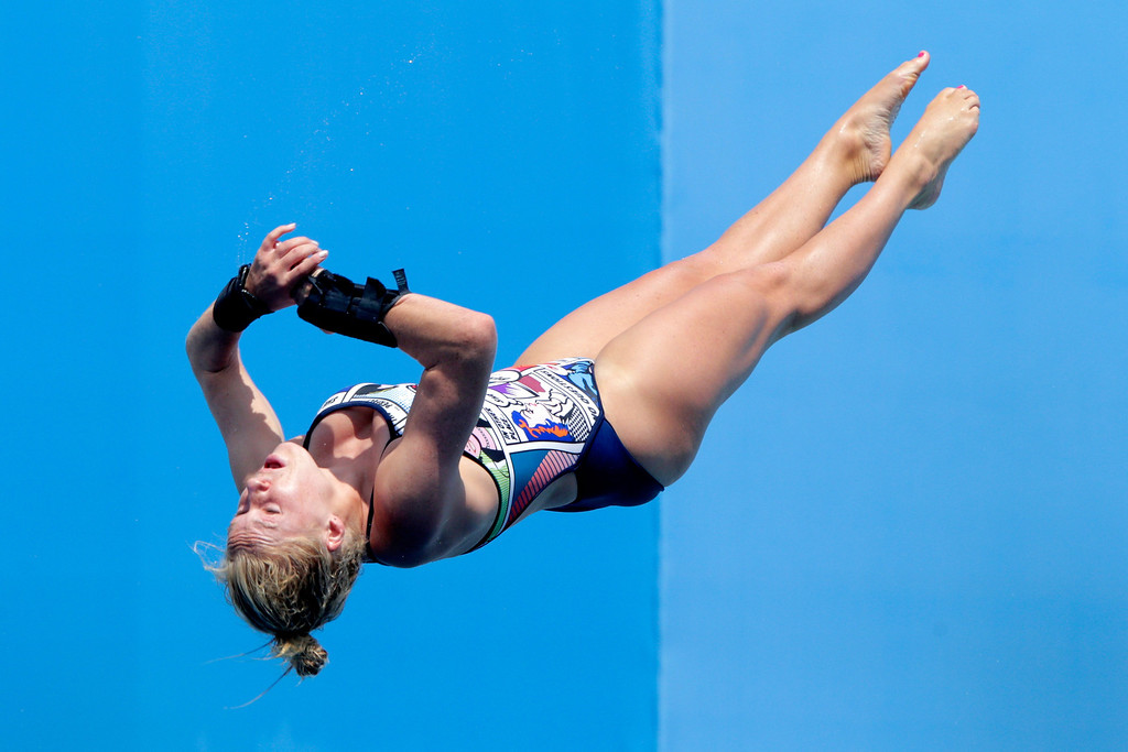 . Julia Vincent of South Africa competes in the Women\'s 1m Springboard Diving preliminary round on day two of the 15th FINA World Championships at Piscina Municipal de Montjuic on July 21, 2013 in Barcelona, Spain.  (Photo by Adam Pretty/Getty Images)