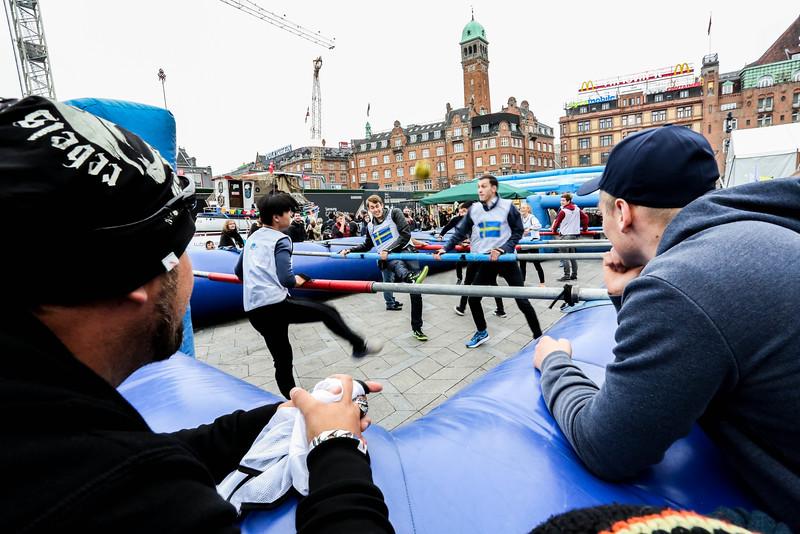 Human table football, activity for Fehmarnbelt Days event in Rådhuspladsen, Copenhagen, 2014