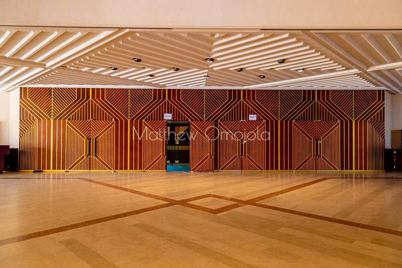 Ornate doors to the Conference auditorium in the Foundation for Peace Research Yamoussoukro Ivory Coast Cote d'Ivoire.