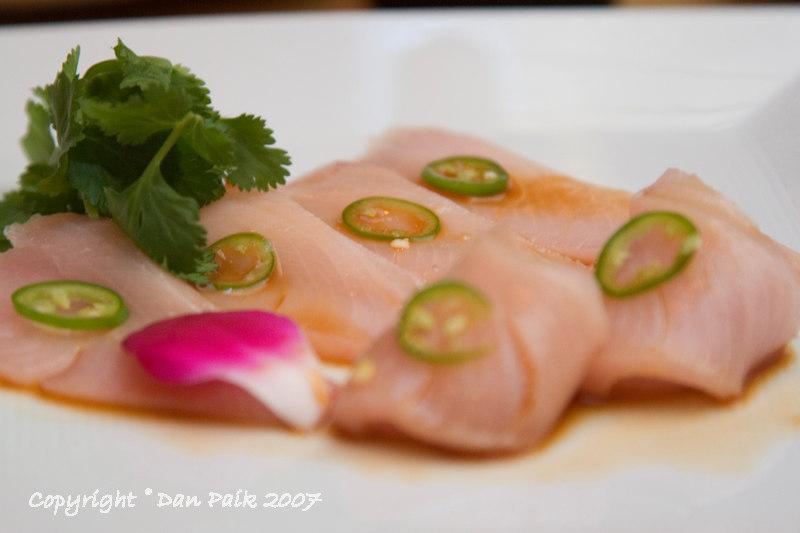 Yellowtail with jalapeno sashimi