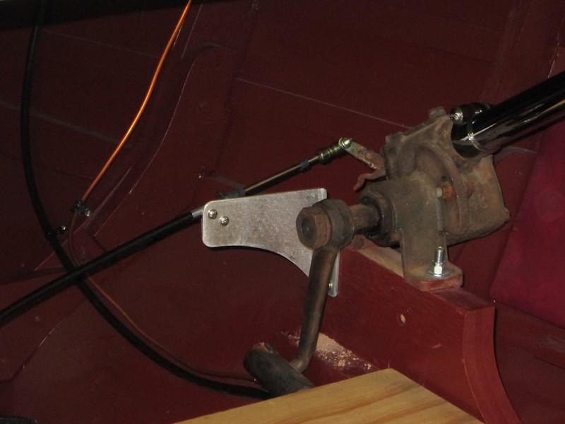Custom made front throttle bracket.