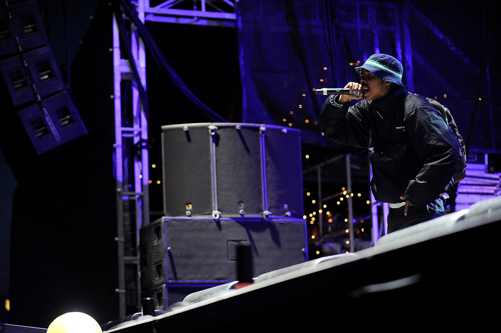. DENVER, CO - APRIL 4: Earl Sweatshirt performs during the Snowball Music Festival at Sports Authority Field at Mile High Stadium on April 4, 2014 in Denver, Colorado. The Snowball Music Festival is celebrating its first year in Denver after spending the previous three years as a mountain based festival. (Photo by Seth McConnell/The Denver Post)