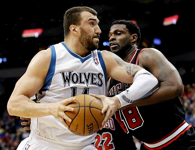 """. <p><b> The Minnesota Timberwolves made news last week when they � </b> <p> A. Gave a five-year, $60 million contract to Nikola Pekovic <p> B. Threw away $60 million   <p> C. All of the above  <p><b><a href=\'http://www.twincities.com/timberwolves/ci_23877860/timberwolves-nikola-pekovics-60m-deal-biggest-decision-my\' target=\""""_blank\"""">HUH?</a></b> <p>    (AP Photo/Jim Mone, File)"""