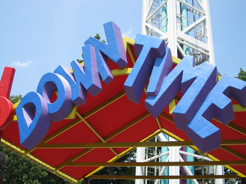 The Down Time sign looked freshly painted.