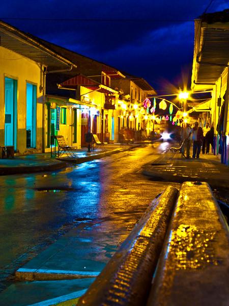 colorful night scene, salento
