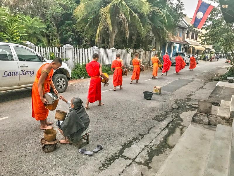 Buddhist Monk Alms Giving ceremony - Luang Prabang, Laos