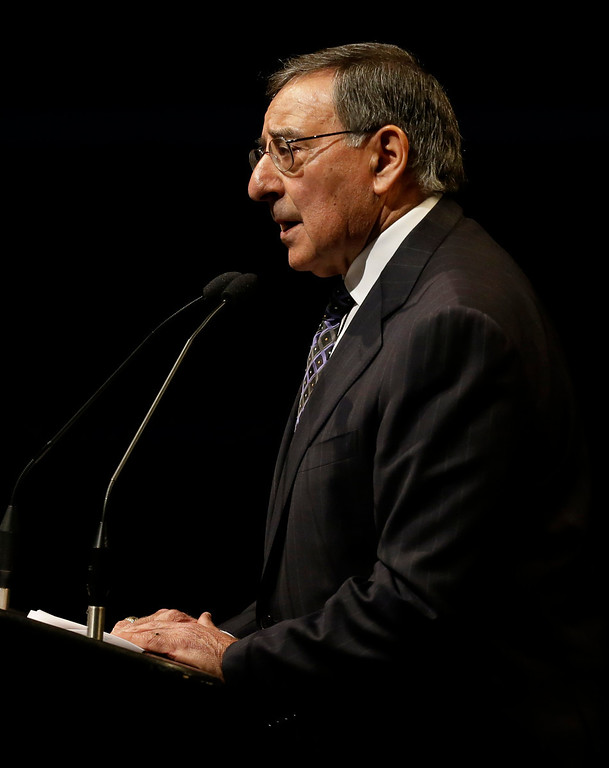. Former Defense Secretary Leon Panetta speaks at a memorial service for slain Santa Cruz police Sgt. Loran Baker and detective Elizabeth Butler Thursday, March 7, 2013, at HP Pavilion  in San Jose, Calif. Baker and Butler were shot to death on Feb. 26, after arriving at the home of Jeremy Peter Goulet to question him about a misdemeanor sexual assault. (AP Photo/Ben Margot)