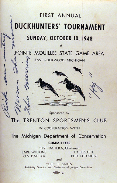 Pt Mouillee First Duck Hunters Tournament Oct 10th 1948 Front.JPG